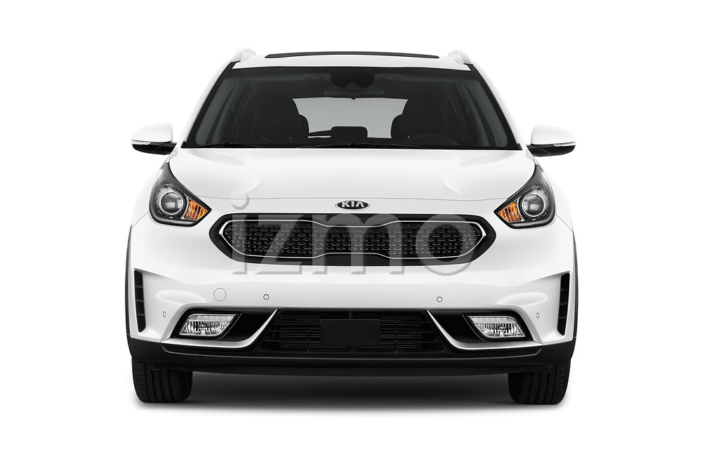Car photography straight front view of a 2017 KIA Niro Sense 5 Door SUV Front View