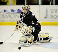 30 December 2007: Western Michigan University Broncos' goaltender Matthew Federico, a Freshman from Scottsdale, AZ, warms up prior to a game against the Holy Cross Crusaders at Gutterson Fieldhouse in Burlington, Vermont. The teams skated to a 1-1 tie, however the Broncos took the consolation game in a 2-0 shootout to win the third game of the Sheraton/TD Banknorth Catamount Cup Tournament...Mandatory Photo Credit: Ed Wolfstein Photo