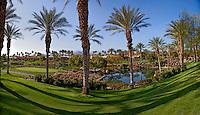 Stock panoramic photo of golf course in La Quinta, California
