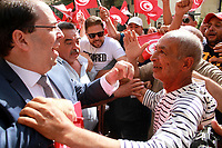 Tunisia Prime minister Youssef Chahed leaves into a car after he has applied his candidacy for the Tunisia's presidential election at the Independent High Authority for Elections (ISIE) headquarter in Tunis on August 9, 2019<br /> <br /> PHOTO : Agence Quebec Presse - jdidi wassim