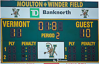 5 April 2008: The scoreboard indicates 1.8 seconds remaining in regulation time, as the University of Vermont Catamounts rally to defeat the University at Albany Great Danes at Moulton Winder Field, in Burlington, Vermont. The final score shows 11-10 for the Catamounts in America East conference play...Mandatory Photo Credit: Ed Wolfstein Photo