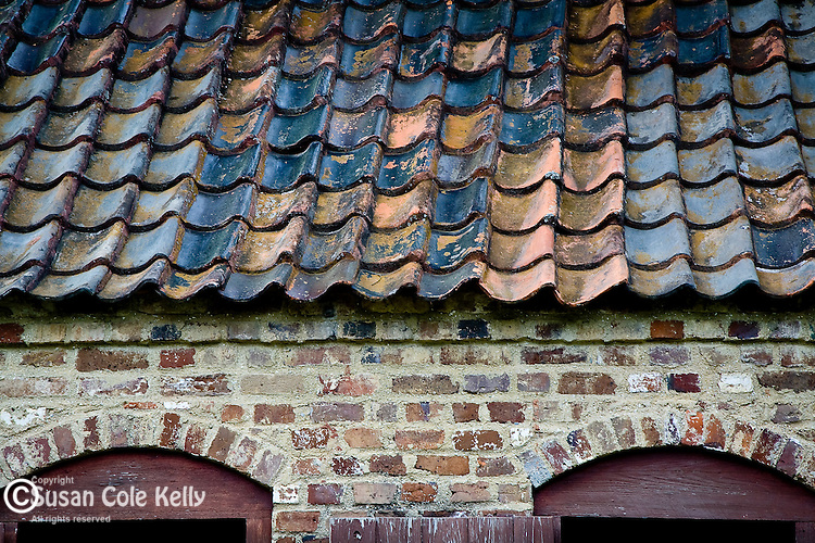 Detail of roof and windows of the Boone Hall Plantation Slave cabins, Mt. Pleasant, SC, USA