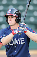Outfielder Cory Harrilchak (4) of the Rome Braves, Class A affiliate of the Atlanta Braves, in a game against the Greenville Drive April 12, 2010, at Fluor Field at the West End in Greenville, S.C. Photo by: Tom Priddy/Four Seam Images