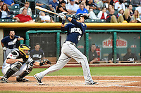 Juan Diaz (29) of the New Orleans Zephyrs at bat against the Salt Lake Bees in Pacific Coast League action at Smith's Ballpark on August 27, 2014 in Salt Lake City, Utah.  (Stephen Smith/Four Seam Images)