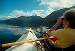 Robson Bight Ecological Reserve, , Sea kayakers, Orca whale marine reserve at Johnstone Strait, Inside Passage, Vancouver Island, British Columbia, Canada,.