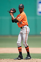 Baltimore Orioles pitcher Yeankrlos Lleras (76) gets ready to deliver a pitch during a Florida Instructional League game against the Boston Red Sox on September 21, 2018 at JetBlue Park in Fort Myers, Florida.  (Mike Janes/Four Seam Images)