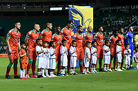 PALMIRA - COLOMBIA, 28-09-2019: Jugadores del Patriotas durante los actos protocolarios previo al partido entre Deportivo Cali y Patriotas Boyacá por la fecha 13 de la Liga Águila I 2019 jugado en el estadio Deportivo Cali de la ciudad de Palmira. / Players of Patriotas during formal events prior match as part Aguila League I 2019 between Deportivo Cali and Patriotas Boyaca played at Deportivo Cali stadium in Palmira city .  Photo: VizzorImage / Nelson Rios / Cont