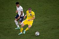 3rd July 2021, Stadio Olimpico, Rome, Italy;  Euro 2020 Football Championships, England versus Ukraine quarter final;  Vitaliy Mykolenko Ukraine against Jadon Sancho England