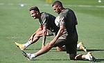 Atletico de Madrid's Saul Niguez (l) and Koke Resurreccion during training session. September 7,2020.(ALTERPHOTOS/Atletico de Madrid/Pool)