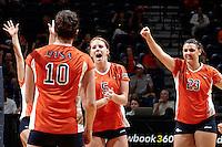 SAN ANTONIO, TX - SEPTEMBER 1, 2012: The University of Texas at El Paso Miners versus the University of Texas at San Antonio Roadrunners Women's Volleyball at the UTSA Convocation Center. (Photo by Jeff Huehn)