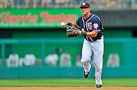 3 September 2012: Washington Nationals shortstop Ian Desmond in action against the Chicago Cubs at Nationals Park in Washington, DC. The Nationals edged out the visiting Cubs 2-1, in the first game of heir 4-game series. Mandatory Credit: Ed Wolfstein Photo