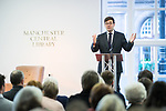 """© Joel Goodman - 07973 332324 . 16/11/2017. Manchester, UK. Manchester Mayor ANDY BURNHAM introduces former British Prime Minister Gordon Brown to host a talk about the financial crash and his time in politics, as Chancellor and then Prime Minister, as part of his promotional tour for his book , """" My Life, Our Times """", at the Manchester Central Library . Photo credit : Joel Goodman"""