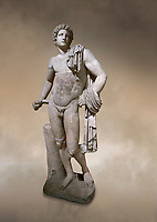 Roman statue of Apollo .Marble. Perge. 2nd century AD. Antalya Archaeology Museum; Turkey. Against a warm art background.