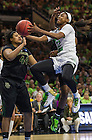 Mar. 31, 2014; Notre Dame guard Jewell Loyd shoots against Baylor in the regional finals of the 2014 NCAA Tournament at the Purcell Pavilion. Notre Dame won 88-69. Photo by Barbara Johnston/University of Notre Dame