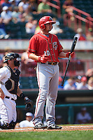 Harrisburg Senators first baseman Shawn Pleffner (10) at bat during a game against the Erie Seawolves on August 30, 2015 at Jerry Uht Park in Erie, Pennsylvania.  Harrisburg defeated Erie 4-3.  (Mike Janes/Four Seam Images)