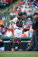 Baltimore Orioles catcher Francisco Pena (27) during a Spring Training exhibition game against the Dominican Republic on March 7, 2017 at Ed Smith Stadium in Sarasota, Florida.  Baltimore defeated the Dominican Republic 5-4.  (Mike Janes/Four Seam Images)