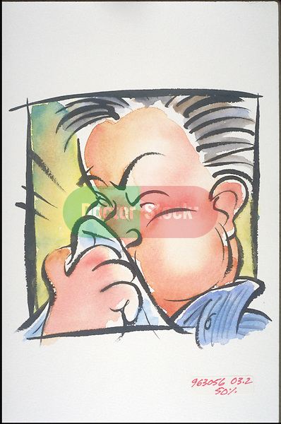 cartoon illustration of man sneezing, blowing nose