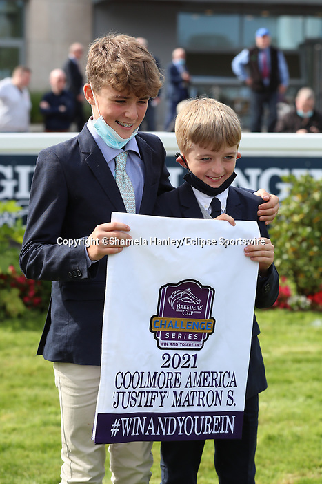 September 11, 2021: No Speak Alexander (IRE) #11, ridden by jockey Shane Foley holds off Pearls Galore (FR) #4 and jockey Declan McDonogh to win the Group 1 Matron Stakes on the turf on Irish Champions Weekend at Leopardstown Racecourse in Dublin, Ireland on September 11th, 2021. Shamela Hanley/Eclipse Sportswire/CSM