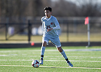 NWA Democrat-Gazette/CHARLIE KAIJO Springdale High School Sylvestre Martinez (25) dribbles during a soccer game, Friday, March 15, 2019 at Bentonville West in Centerton.