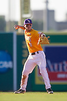 LSU Tigers shortstop Alex Bregman (8) makes a throw to second base during the Southeastern Conference baseball game against the Texas A&M Aggies on April 25, 2015 at Alex Box Stadium in Baton Rouge, Louisiana. Texas A&M defeated LSU 6-2. (Andrew Woolley/Four Seam Images)