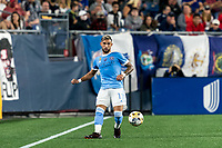 FOXBOROUGH, MA - SEPTEMBER 11: Valentin Castellanos #11 of New York City FC passes the ball during a game between New York City FC and New England Revolution at Gillette Stadium on September 11, 2021 in Foxborough, Massachusetts.