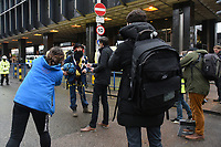 A protester is interviewed by the media during a protest against the building of the HS2 railway line at Euston Square Gardens on 27th January 2021