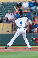 Omaha Storm second baseman Erick Mejia (9) during a Pacific Coast League game against the Memphis Redbirds on April 26, 2019 at Werner Park in Omaha, Nebraska. Memphis defeated Omaha 7-3. (Zachary Lucy/Four Seam Images)
