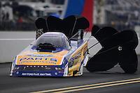 Sept. 16, 2012; Concord, NC, USA: NHRA funny car driver Bob Tasca III during the O'Reilly Auto Parts Nationals at zMax Dragway. Mandatory Credit: Mark J. Rebilas-
