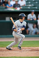 West Michigan Whitecaps center fielder Jacob Robson (7) follows through on a swing during a game against the Peoria Chiefs on May 9, 2017 at Dozer Park in Peoria, Illinois.  Peoria defeated West Michigan 3-1.  (Mike Janes/Four Seam Images)