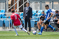SAN JOSE, CA - APRIL 24: Matias Almeyda Head Coach of the San Jose Earthquakes shouts directions during a game between FC Dallas and San Jose Earthquakes at PayPal Park on April 24, 2021 in San Jose, California.