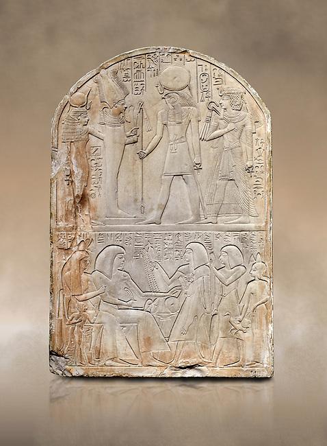 Ancient Egyptian stele dedicated to the god Re-Harakhty by sculptor Ipy, limestone, New Kingdom, 19th Dynasty, (1279-1213 BC), Deir el-Medina, Drovetti cat 7357. Egyptian Museum, Turin.