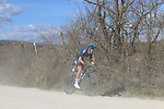 The peloton led by Diego Rosa (ITA) Team Sky on sector 2 Bagnaia during Strade Bianche 2019 running 184km from Siena to Siena, held over the white gravel roads of Tuscany, Italy. 9th March 2019.<br /> Picture: Seamus Yore   Cyclefile<br /> <br /> <br /> All photos usage must carry mandatory copyright credit (© Cyclefile   Seamus Yore)