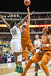 point guard Sune Agbuke (22)  and center Kelsey Lang (40) in action during Big 12 women's basketball championship final, Sunday, March 08, 2015 in Dallas, Tex. (Dan Wozniak/TFV Media via AP Images)