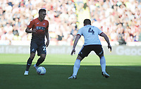 Swansea City's Connor Roberts vies for possession with Sheffield United's John Fleck during the Sky Bet Championship match between Sheffield United and Swansea City at Bramall Lane, Sheffield, England, UK. Saturday 04 August 2018