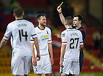 St Johnstone v Inverness Caley Thistle…09.03.16  SPFL McDiarmid Park, Perth<br />Gary Warren is booked by Ref Don Robertson<br />Picture by Graeme Hart.<br />Copyright Perthshire Picture Agency<br />Tel: 01738 623350  Mobile: 07990 594431