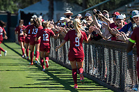 STANFORD, CA - SEPTEMBER 12: Astrid Wheeler and fans after a game between Loyola Marymount University and Stanford University at Cagan Stadium on September 12, 2021 in Stanford, California.