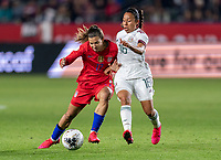CARSON, CA - FEBRUARY 7: Tobin Heath #17 of the United States fights for the ball with Karla Nieto #16 of Mexico during a game between Mexico and USWNT at Dignity Health Sports Park on February 7, 2020 in Carson, California.