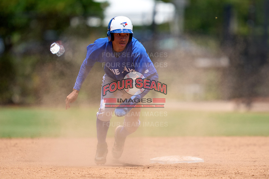 Toronto Blue Jays Angel Del Rosario (43) running the bases during an Extended Spring Training game against the Philadelphia Phillies on June 12, 2021 at the Carpenter Complex in Clearwater, Florida. (Mike Janes/Four Seam Images)