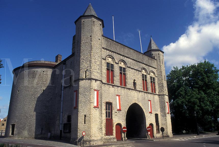 Bruges, Brugge, Belgium, West-Vlaanderen, Europe, Gent Gate in Brugge.