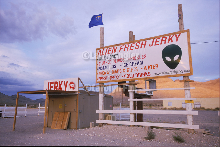 Signs at the Alien Fresh Jerky shop (closed) at the eastern end of SR 375 at U.S. 93 near Crystal Springs, Nev.