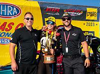 Aug 18, 2019; Brainerd, MN, USA; NHRA top fuel driver Leah Pritchett celebrates with crew after winning the Lucas Oil Nationals at Brainerd International Raceway. Mandatory Credit: Mark J. Rebilas-USA TODAY Sports