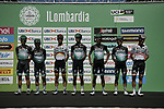 Bora-Hansgrohe team at sign on before the start of the 114th edition of Il Lombardia 2020, running 231km from Bergamo to Como, Italy. 15th August 2020.<br /> Picture: LaPresse/Marco Alpozzi | Cyclefile<br /> <br /> All photos usage must carry mandatory copyright credit (© Cyclefile | LaPresse/Marco Alpozzi)