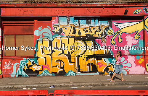 The Lord Napier public house pub at Hackney Wick railway train station Hepscott Road, London E9. East London the site of the 2012 Olympic Games, park, village and arena, Hackney Marsh, Stratford, England 2006.