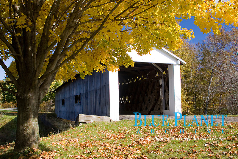 South Denmark Covered Bridge. 81 ft in length. Built in 1890 spanning Mill Creek. Located in northeastern Ohio.