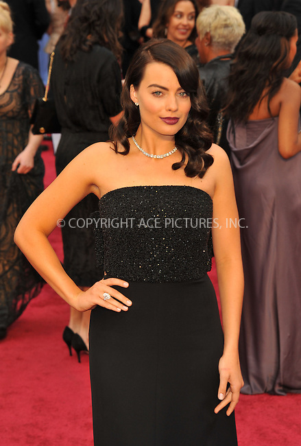 WWW.ACEPIXS.COM <br /> March 2, 2014, Los Angeles, CA<br /> <br /> Margot Robbie arriving at the 86th Annual Academy Awards held at Hollywood & Highland Center on March 2, 2014 in Hollywood, California.<br /> <br /> By Line: Peter West/ACE Pictures<br /> <br /> ACE Pictures, Inc.<br /> tel: 646 769 0430<br /> Email: info@acepixs.com<br /> www.acepixs.com