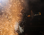 A small plane crashes into the stage during the Roger Waters performance of Pink Floyd's The Wall on the album's 30th Anniversary at the Toyota Center Saturday Nov. 20, 2010. (Dave Rossman/For the Chronicle)