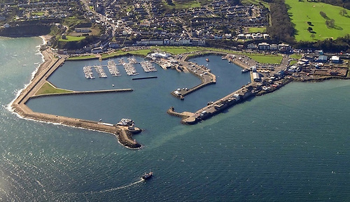 Aerial image of Howth Harbour, with the West Pier on the right