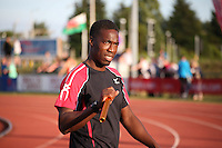 Tuesday 15th July 2014<br /> Pictured: Christian Malcolm <br /> RE: Welsh Sprinter Christian Malcolm requests an alternative baton before he competes for the last time on home soil in the 4x100m relay at the Welsh Athletics International in the Cardiff International Sports Stadium, South Wales, UK. His