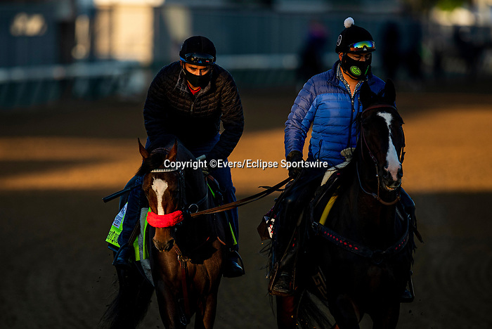 April 26, 2021: Hot Rod Charlie is ponied by Lava Man as he prepares for the Kentucky Derby at Churchill Downs in Louisville, Kentucky on April 26, 2021. EversEclipse Sportswire/CSM
