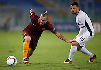 Calcio, Europa League: Roma vs Astra Giurgiu. Roma, stadio Olimpico, 29 settembre 2016.<br /> Roma's Radja Nainggolan, left, is challenged by Astra Giurgiu's Constantin Budescu during the Europa League Group E soccer match between Roma and Astra Giurgiu at Rome's Olympic stadium, 29 September 2016. Roma won 4-0.<br /> UPDATE IMAGES PRESS/Isabella Bonotto